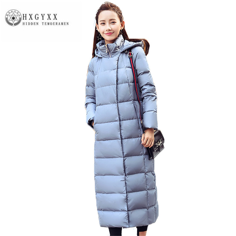 Здесь продается  White duck down Women Winter Down jacket High quality Fashion Thick Big yards Coat Hooded Pure color New Long Outerwear ZX0224  Одежда и аксессуары