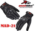 2016 New Windproof MAD-BIKE motorcycle glove Knight off-road motorbike gloves made of leather MAD-21 black color size M L XL