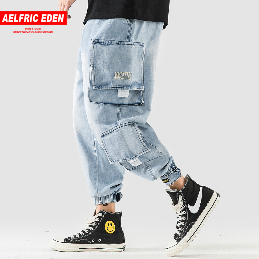 Aelfric Eden Hip Hop Joggers Men 2018 New Design Pockets Casual Pants High Street Trousers Elastic Waist Skateboard Sportswear