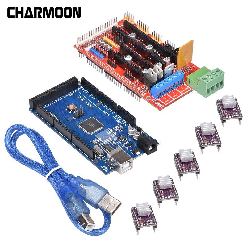 Pièces d'imprimante 3D 1pc Mega 2560 R3 + 1pc rampes 1.4 panneau de commande + 5pcs DRV8825 moteur pas à pas Reprap pour Kits d'imprimante 3D