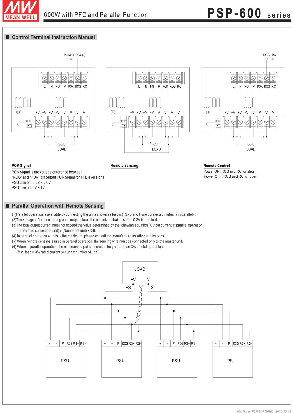Mean Well Original PSP-600-27 with PFC and Parallel Function Power ...