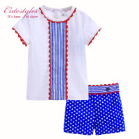 (no size 3T) New Design Boutique Toddler Boy Clothing Sets Casual T-Shirt and Polka Dot Printed Short Kid Clothes B-DMCS905-793