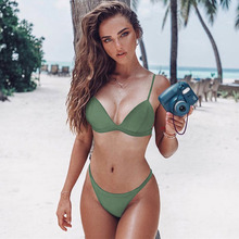 Womail Sexy Women Bikini Set Mid Waisted Swimwear Hot Sale Push-Up Padded Solid Bra Swimsuit  Multicolors Beachwear I301218