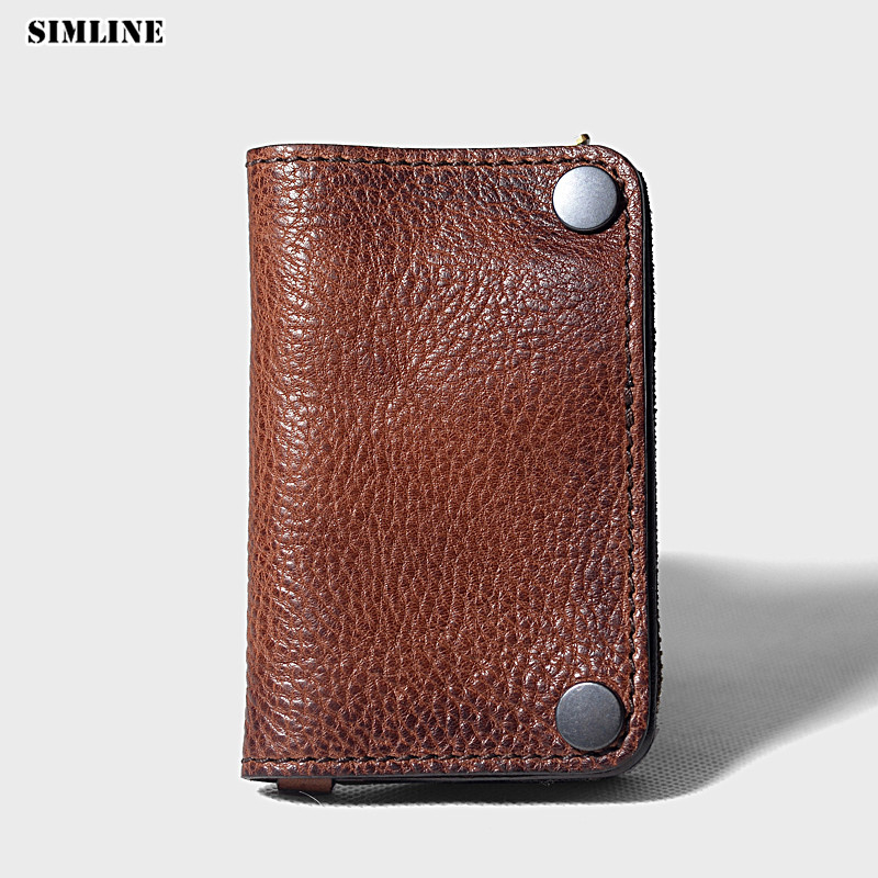 Vintage Handmade Genuine Vegetable Tanned Leather Car Key Wallet Holder Men Wallets Coin Purse Card Holders With Zipper Pocket brand handmade genuine vegetable tanned leather cowhide men wowen long wallet wallets purse card holder clutch bag coin pocket page 4