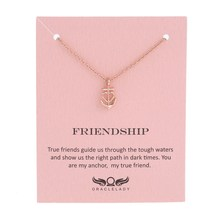 Sykesha Customized Christmas Gift Love Anchor Necklace Friendship Anchor Pendant Necklace Birthday Women Statement Necklace
