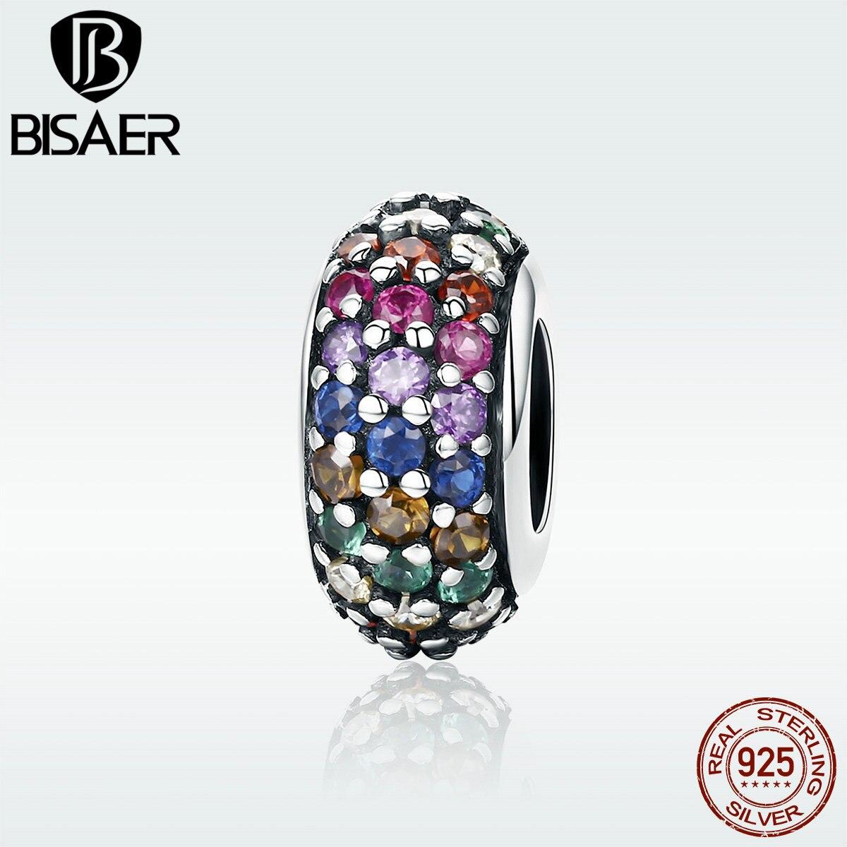 BISAER Hohe Qualität 925 Sterling Silber Spacer Über die Regenbogen CZ Perlen fit Charme Armband & Armreifen 925 Silber Schmuck GXC583