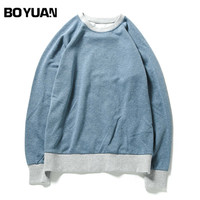 BOYUAN New Brand Hoodie Sweatshirt Long Sleeves Men Hoodies O Neck Patchwork Casual Loose Spring Autumn