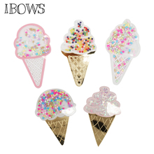 IBOWS Acrylic Liquid Quicksand Pacthes Ice Cream Sequins Patch for DIY Phone Case Hair Bows Accessories Crafts Suppliers