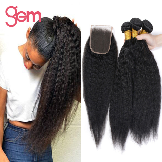 Brazilian Kinky Straight With Closure Brazilian Yaki Straight Hair With Closure Brazilian Virgin Hair 3 Bundles With Closure 1b
