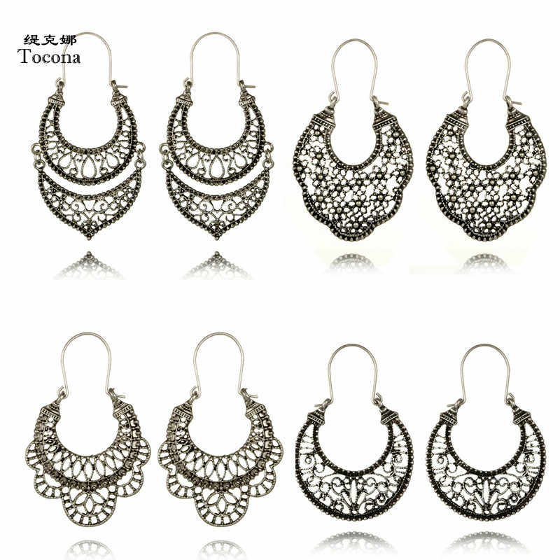 Tocona Vintage Antique Silver Hollow out Carved Flower Hoop Earrings Punk Metal Brincos Earring for Women Jewelry Accessories