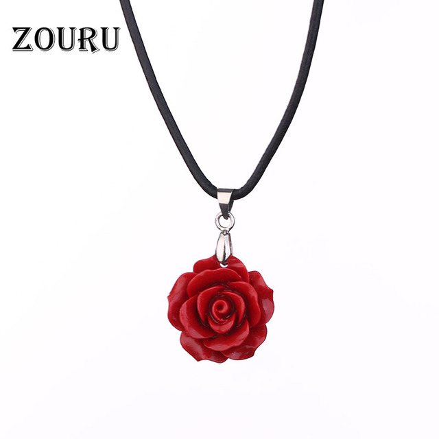 Hot genuine leather chain coral redpinkwhite rose flower pendants hot genuine leather chain coral redpinkwhite rose flower pendants women necklaces fashion mozeypictures Choice Image