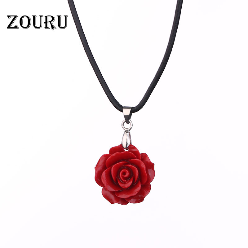 Hot Genuine Leather Chain Coral Red Pink White Rose Flowers Pendants Women Necklace Fashion Jewelry ZOURU