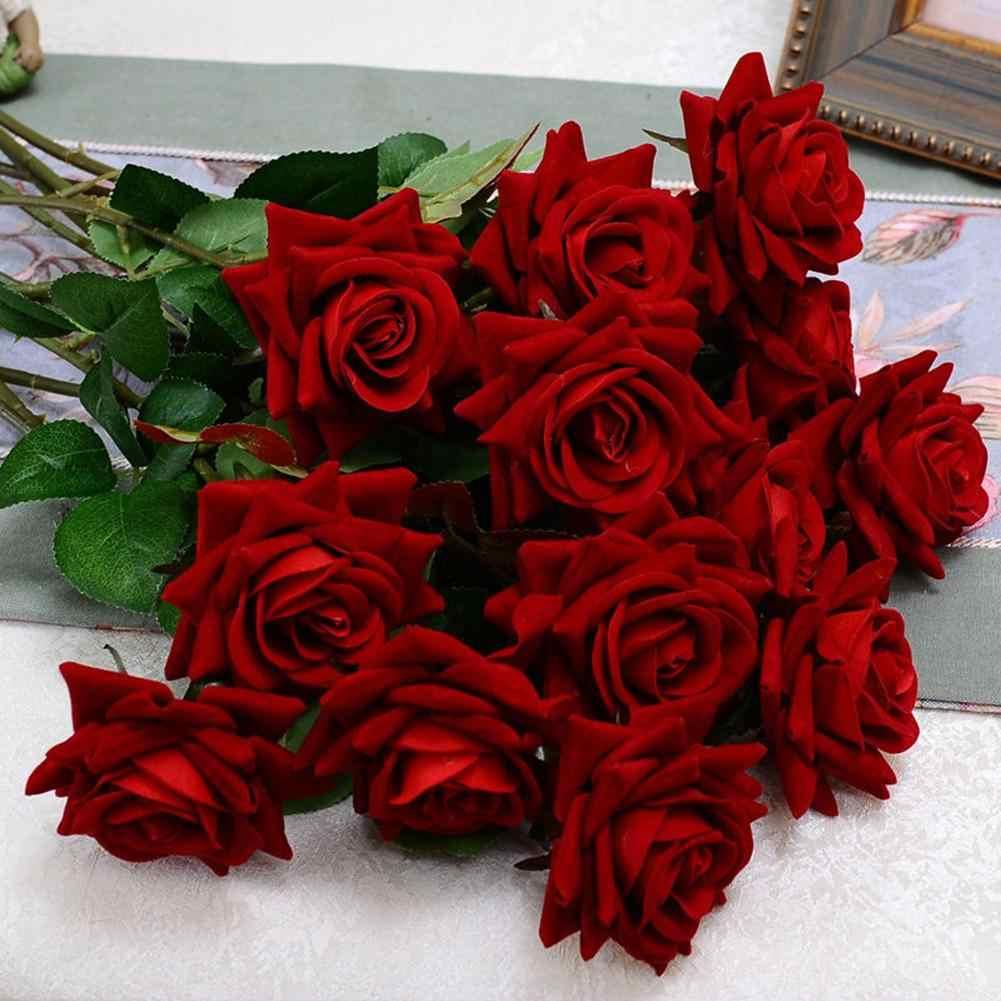 1pc Fake Rose Artificial Flower Leaf Home Room Bridal