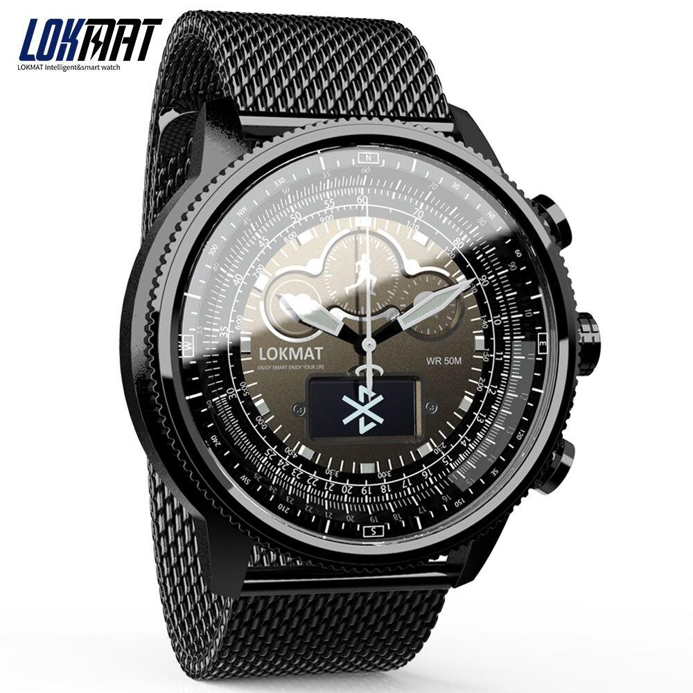 LOKMAT Bluetooth montre connectée Sport Étanche podomètres Informations Rappel numérique hommes horloge montre intelligente pour ios Android téléphone