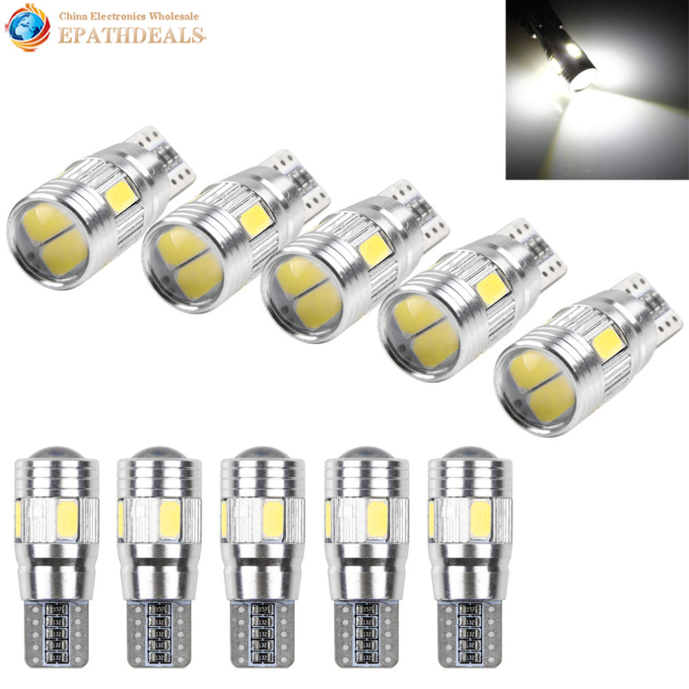 10pcs! T10 501 194 W5W 5630 SMD LED Car Interior Light Bulb HID Canbus Error Free Wedge Auto Dome Map Door Trunk Parking Lamp 2pcs t10 canbus error free car license plate lights 9 smd led light bulbs 194 w5w auto wedge panel interior light