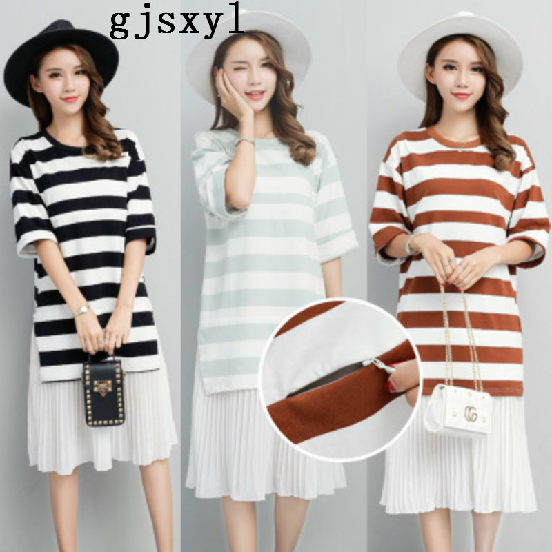 Maternity Dress Korean Summer Wear New Pattern Easy Apparent Thin False Two Paper Stripe T Pity Go Out Nurse Clothes Lactation