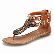 Free Shipping 2017 Summer New Women Shoes Sandals Roman Flat Sandals Flip Retro Female Zipper Low-Heeled Sandals