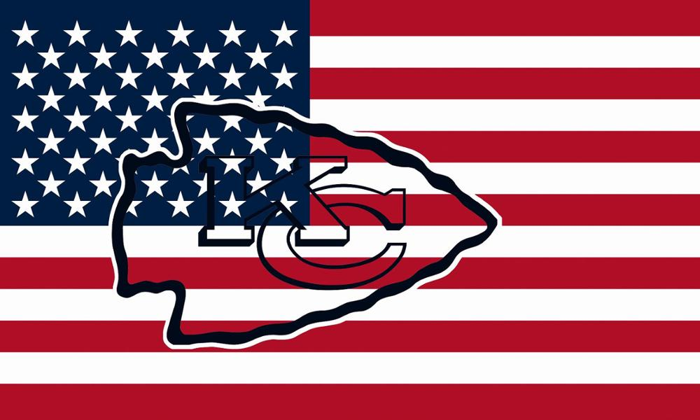 Kansas City Chiefs Hollow Out Shape with US Flag 150X90CM Banner 100D Polyester3x5 FT flag brass grommets 001, free shipping