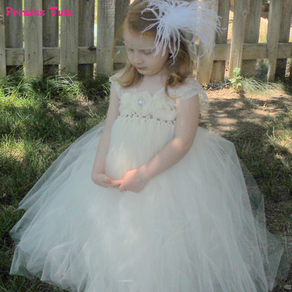 Cream White Flower Girl Dresses For Party Wedding Girl Dresses Kids Pageant Birthday Tulle Lace Tutu Dress Princess Ball Gown