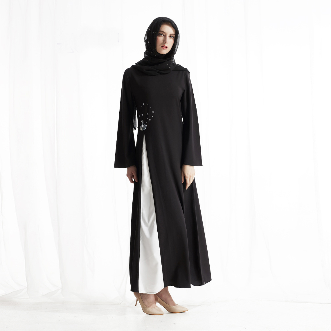 Black Elegant Muslim Dress Swan Diamond Islam Arab Women Dress Loose Ladies Dresses
