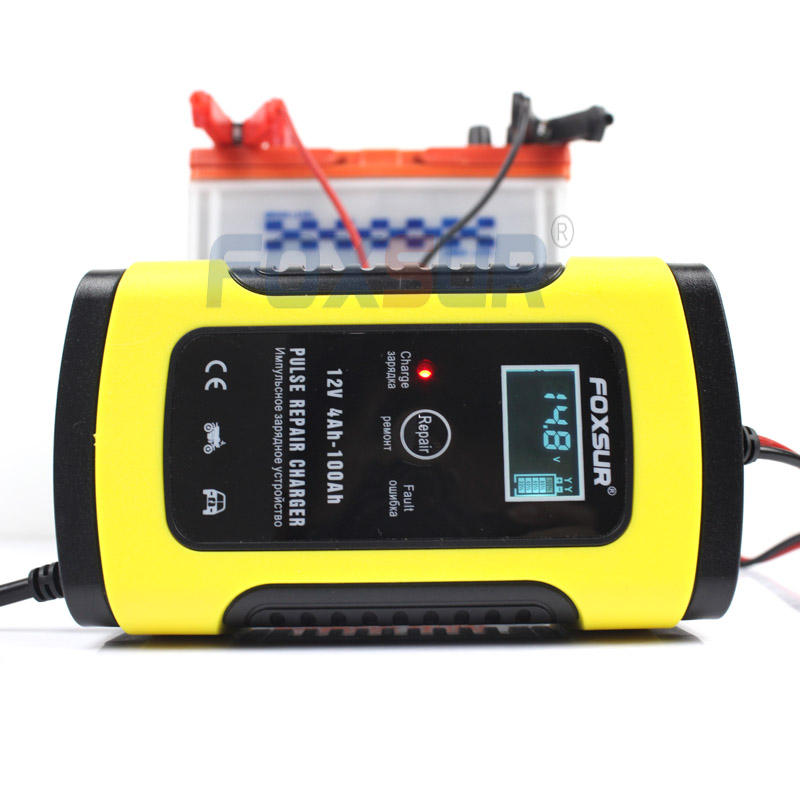 FOXSUR 12V 5A Motorcycle Car Battery Charger Maintainer & Desulfator Smart Battery Charger, Pulse Repair Charger LCD Display