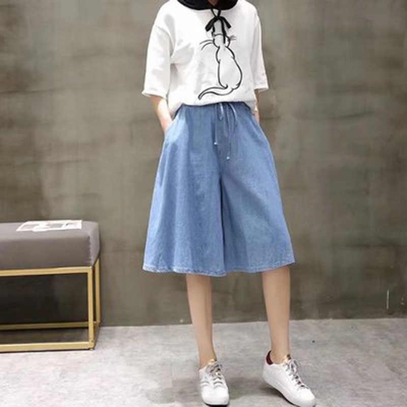 Tencel כותנה גבוהה מותן רחב רגל ג 'ינס אמא Mujer הברך אורך בתוספת גודל נשים Loose ג' ינס מכנסיים קיץ ג 'ינס אישה a345