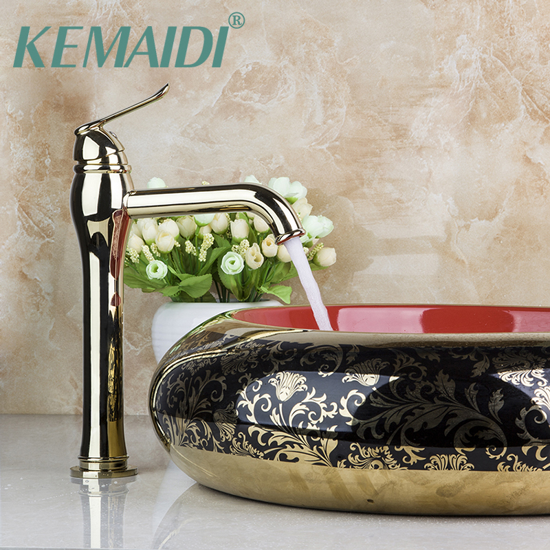 KEMAIDI Bathroom Faucet Deck Mounted Vessel Luxury Mixer Golden Polished Bathroom Tap Faucet Basin Sink Faucets golden plated water mixer tap faucet kitchen sink basin swivel vessel golden polished deck mounted single handle faucet