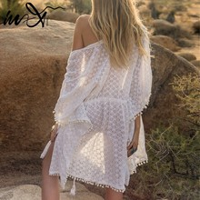 In-X Tassel tunic for women beach dress 2019 Long lace cover ups Transparent swimsuit Sexy cover up Saida de Praia Robe de Plage(China)