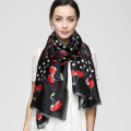 180cm*90cm Women 2017 New Fashion Designer Brand Black Color Cute Dot and Cherry Fruit Printed Long Silk Scarf Big Shawl YAU005