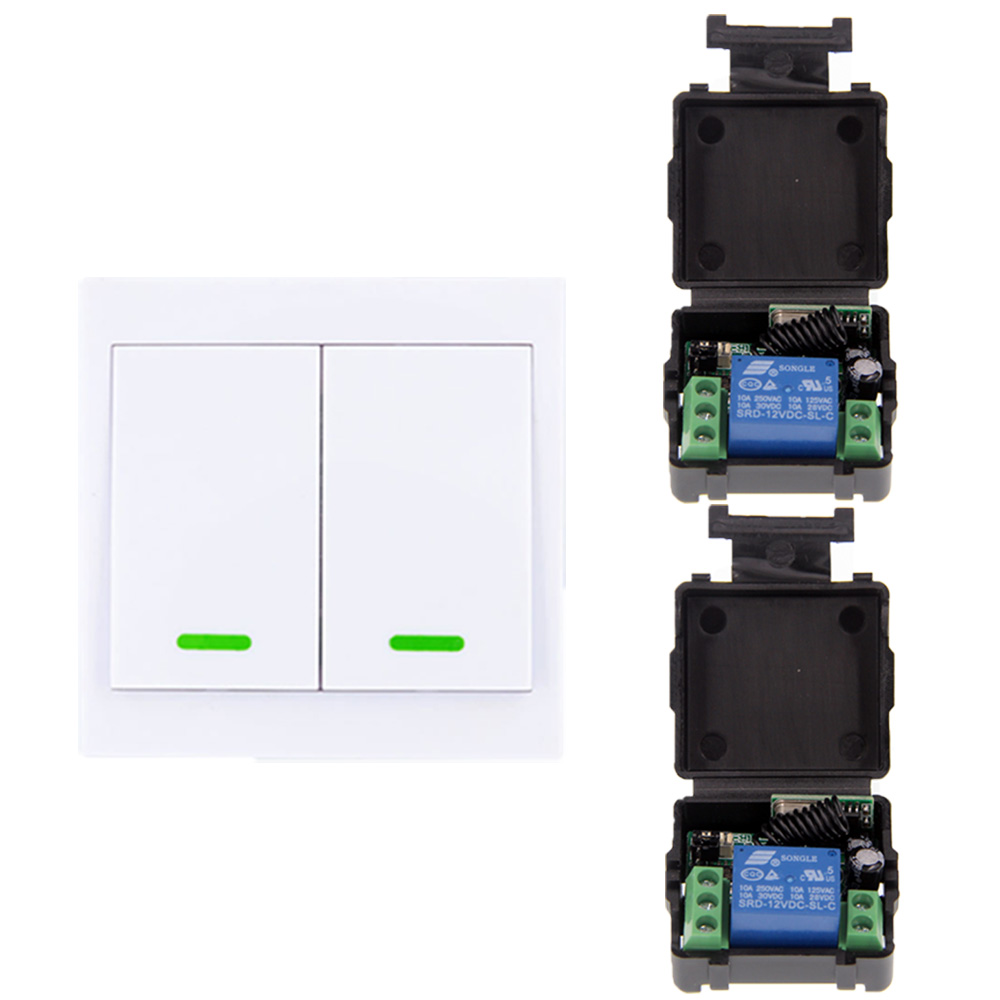 Mini DC 12V 1CH 1CH 10A RF Wireless Remote Control Switch System, Receiver+ 2CH 86 Wall Panel Transmitter ,315/433.92 MHz 220v 1 ch 1ch rf wireless remote control switch system for led bulb light strips mini receiver 3ch 86 wall transmitter