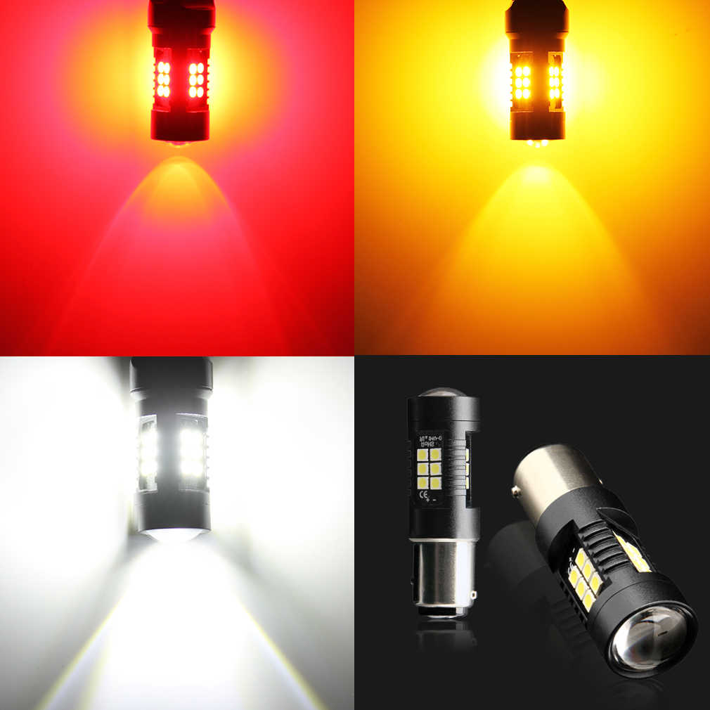 2 шт. 1200Lm 1157 BAY15D светодиодный P21/5 Вт светодиодный лампы 21SMD 3030 фонари заднего хода автомобиля задний фонарь Стоп сигнал поворота, цвета-красный, желтый, белый D035