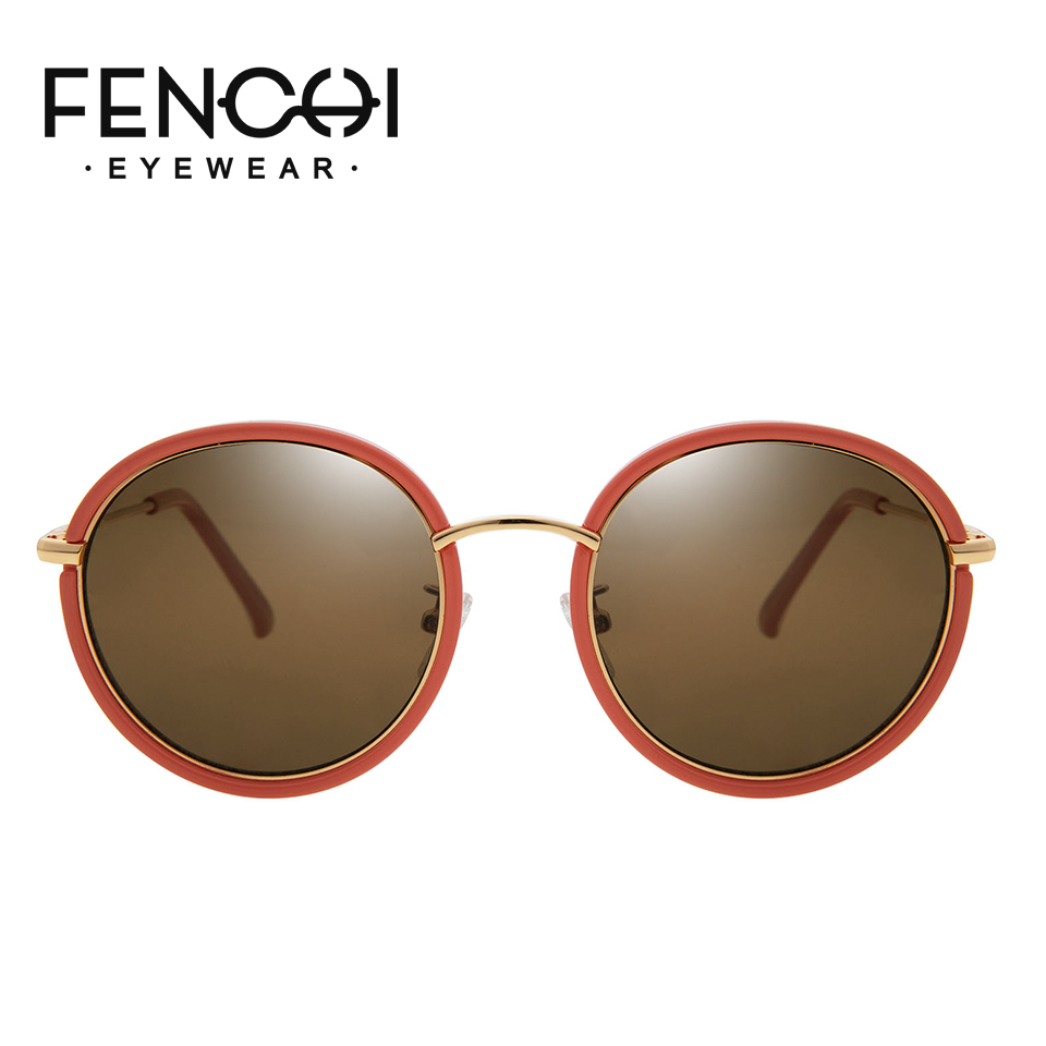 FENCHI women sunglasses round frame vintage brand designer ladies retro shades for women oculos feminino