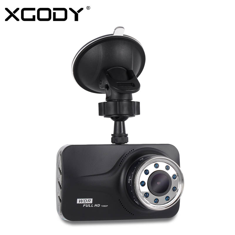 Xgody 3 '' Bilkameraoptager Night Vision Cam med 9 Ir Lights Bil Dashcams Video Registrator Bil Dvr Med Russisk Sprog