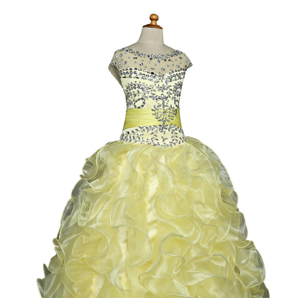 Yellow 2018 Girls Pageant Dresses For Weddings Ball Gown V Organza