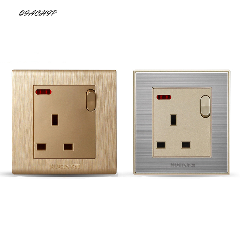EU Standard Wall Socket With Light Switch Retro Gold PC Panel AC 110~250V 13A Electrical Outlet 86mm*86mm scinder switched socket package 15 steel frame two or three five hole electrical outlet wall switch panel switch