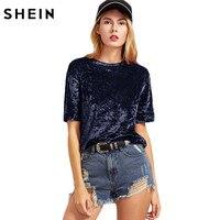 SheIn T Shirt Women Summer Navy Crushed Velvet T Shirt Women Short Sleeve Tee Ladies Tops