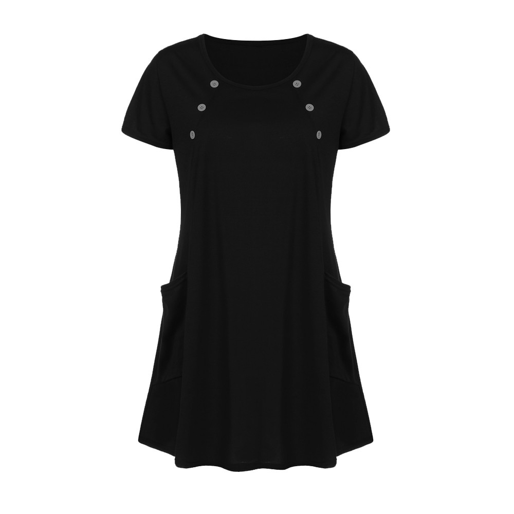 Women beach dress Loose Big Pocket Casual O Neck Button Short Sleeve Mini Dress women clothing plus size female