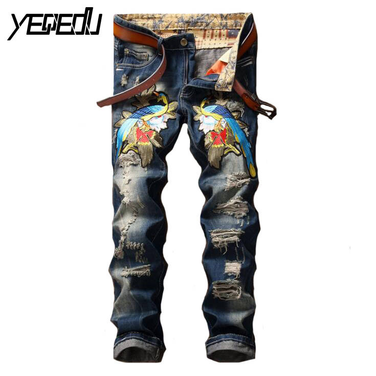 ФОТО #2794 2017 With hole Vintage Magpie embroidered jeans mens Designer Punk Designer jeans mens Bikers Ripped jeans for men Jogger