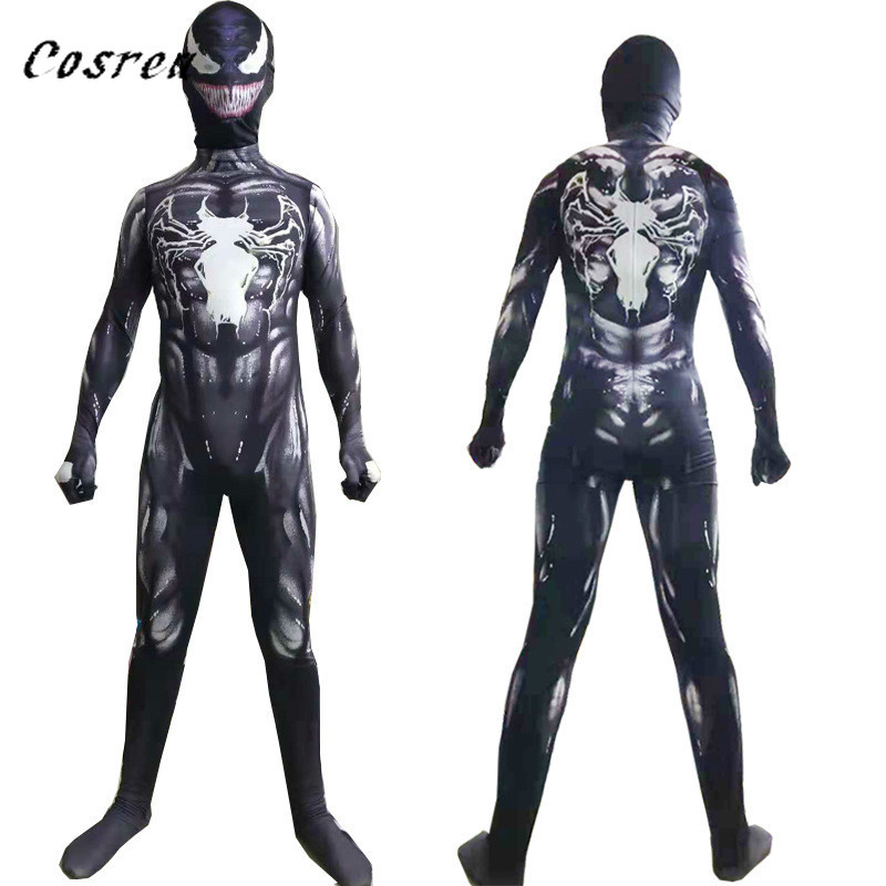 COSREA Kids Adult Ps4 Insomniac Games Spider-Man Black Venom Superhero Lycra Spiderman Hero Zentai Halloween Costume With Mask