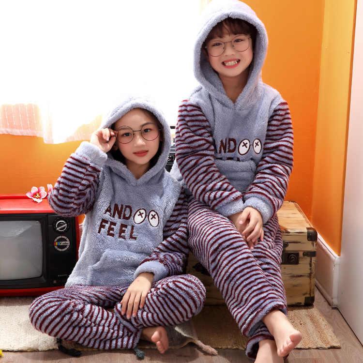 Pijamas de lana en Coral para niños y niñas, Pijamas de franela para niños, Pijamas cálidos de Navidad para niños, conjunto de Pijamas para bebés, ropa de invierno 2 uds