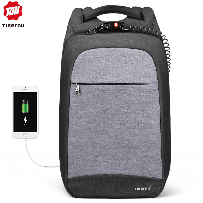 Tigernu Laptop Backpack Business Bags USB Charging Male Mochila Anti Theft Water Resistant School Bookbag for