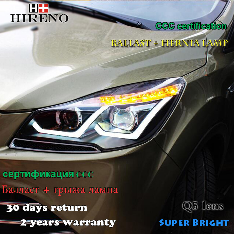 Hireno Car styling Headlamp for 2013-2015 Ford Kuga Escape SE Headlight Assembly LED DRL Angel Lens Double Beam HID Xenon 2pcs hireno car styling headlamp for 2007 2011 honda crv cr v headlight assembly led drl angel lens double beam hid xenon 2pcs