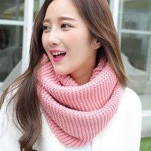 Женский Зимний вязаный шарф из искусственной шерсти, красный, розовый, черный, желтый, зеленый, серый