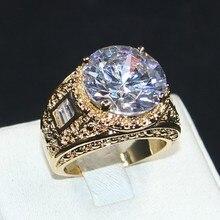 Choucong joyería tamaño 8/9/10/11 Vintage atmósfera 15ct redondo 5a circón piedra 18KT amarillo oro lleno anillo para hombres