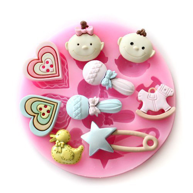 Baby born shaped 3D Reverse sugar molding Food Grade silicone mould for polymer clay molds chocolate cake decoration tools F0126