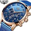 Relogio Masculino LIGE Luxury Quartz Watch for Men Blue Dial Watches Sports Watches Moon Phase Chronograph Mesh Belt Wrist Watch 1