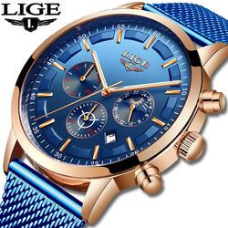 Relogio Masculino LIGE Роскошные Кварцевые часы для мужчин синий циферблат часы спортивные часы фаза Луны хронограф сетка ремень наручные часы
