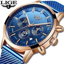 Relogio Masculino LIGE Luxury Quartz Watch for Men Blue Dial Watches Sports Watc