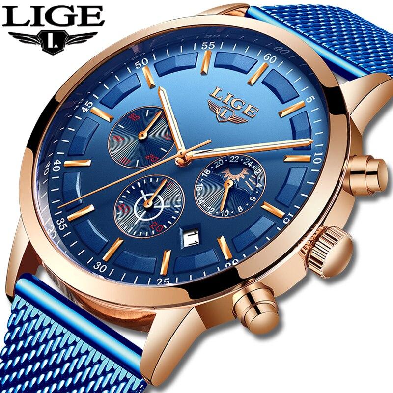Relogio masculino lige relógio de quartzo de luxo para homem azul dial relógios de esportes relógios de fase da lua cronógrafo cinto de malha relógio de pulso
