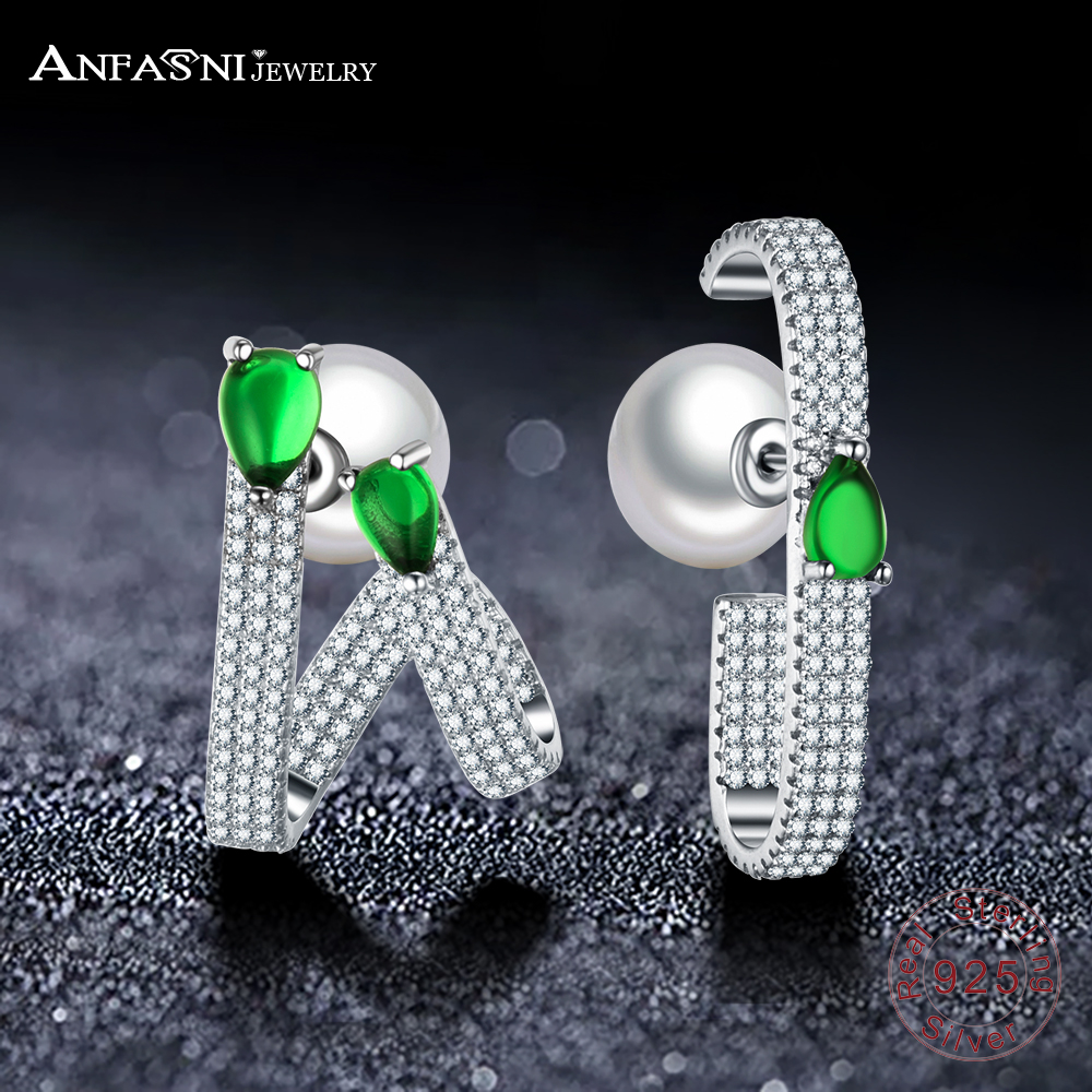 ANFASNI 925 Sterling Silver Pearl Earrings For Women Luxury Top Clear Zirconia Paved And Green Stone Wedding Earring Jewelry living room high foot small bar table toughened glass bars table fashion household coffee bar table